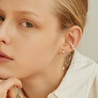 [silver925]jolly pearl chain earcuff