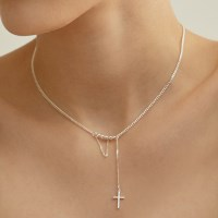 [silver925]cross unbal chain necklace