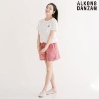 알콩단잠 여성잠옷바지 미니언즈 체크 3부 여름 실내복 팬츠 레드