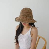 스트라이프 지사 챙넓은 패션 버킷햇 벙거지 모자