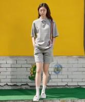 [르까프] 5부 니트 자수 밴드 팬츠 멜란지그레이