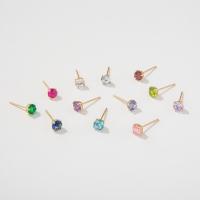 10k 골드 탄생석 큐빅 귀걸이 (12color,2size)