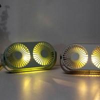 LED 충전용 무선 듀얼 팬 사무실 탁상용 선풍기