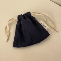 스트라이프 네이비 스트링 파우치 (Stripe navy string pouch)