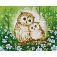 엄마와 아기 부엉이 (캔버스형) 보석십자수 40x50