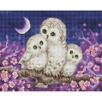 행복한 부엉이 가족 (캔버스형) 보석십자수 40x50