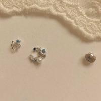 [봄밤달] 푸른바다 조가비 피어싱 (귀걸이침 변경가능)