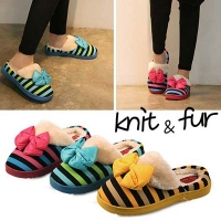 Stripe knit  fur slippers_KM12w308