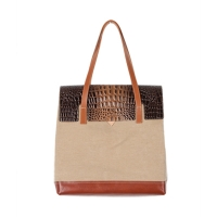 MULTI FACED BAG - BEIGE (croco brown �÷�)