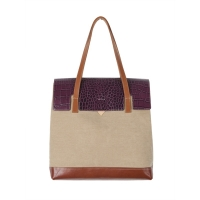 MULTI FACED BAG - BEIGE (croco purple �÷�)