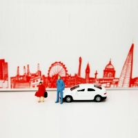 London Skyline Decorative Tape - Red