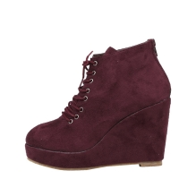Suede Wedge Boots [KEP1146]