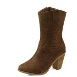 Wood heel western style fur boots_KM14w302