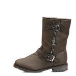 국내생산 Open side zipper fur half boots_KM15w249