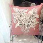 Sketch peony pink cushion