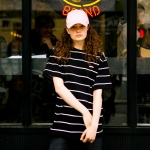 UNISEX Stripe Skateboarder T-shirt atb067_Black
