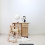 [벤트리] 원목 접이식 캐스터 테이블&의자 세트