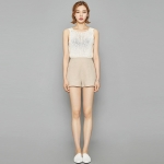 side slit linen short pants (3 colors)_(359760)