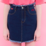 Heart damage denim skirt (2color)