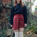 Unbal Tartan Check Skirt Pants (2colors)