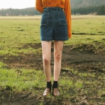 One pleat denim mini skirt