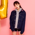 HEART LOGO DENIM JACKET - DARK BLUE