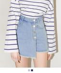 [SEEK] Denim Wrap Skirt Pants