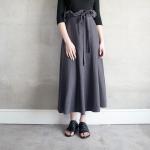 Linen Long Skirt - Grey