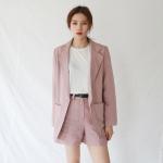 Soft color linen short pants