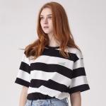 [UNISEX] 코튼 10d 스트라이프 자수 티셔츠(블랙/화이트)