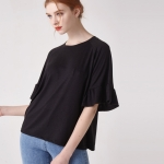 [WOMEN] 소매 러플 슬리브 티셔츠(블랙)