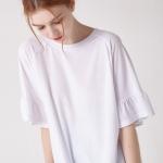 [WOMEN] 소매 러플 슬리브 티셔츠(화이트)