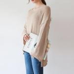 Loose v-neck s/s knit