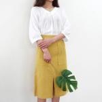 linen slit skirt