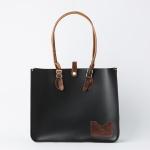 Charcoal Black Leather Landscape Tote Bag