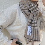natural beige check muffler ( hand made )