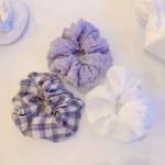 [3개세트][3color] 보라색 라벤더 체크 곱창 머리끈 세트
