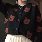 [4/16예약발송]큐피드곰 패턴 니트 가디건(네이비/블랙)
