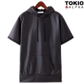 Artificial Leather Hood Half Sleeve Tee