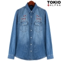 Stitch Snap Fastener Denim Shirts