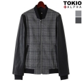 Leather Sleeve Check Stadium Jumper