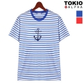 Anchor Stitch Stripe Half Sleeve Tee