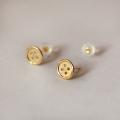 10k gold button earring