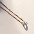 silver natural stone necklace-aquamarine