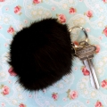 Natural rabbit fur keyring -black