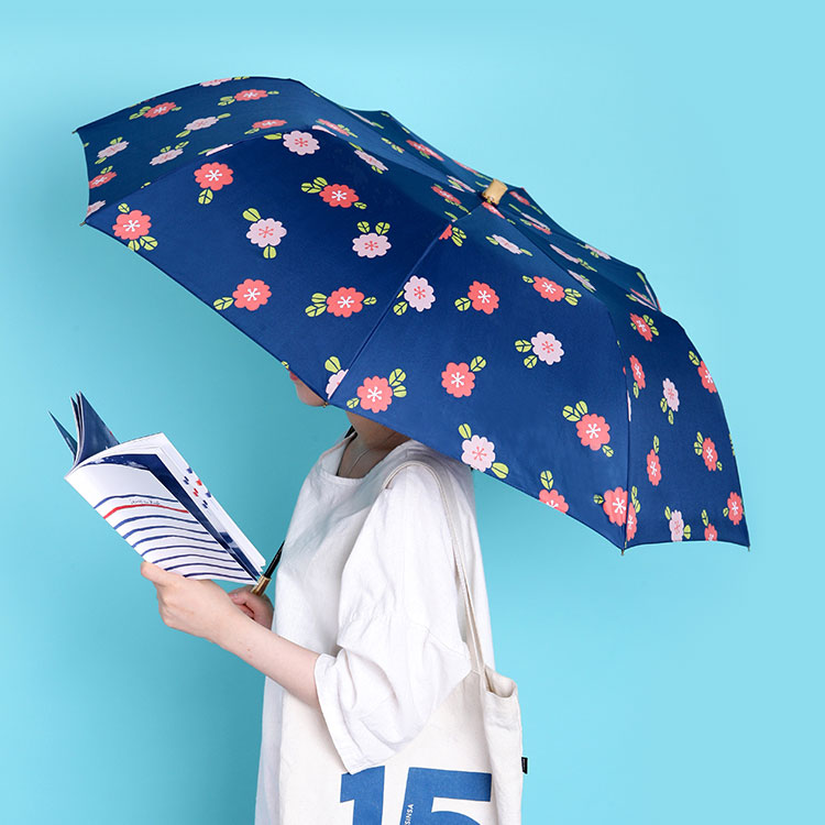 Bella Flora 패턴 2단 수동 우산 (navy)