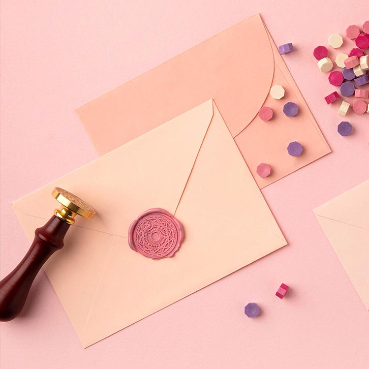 핑크 씰 스탬프 왁스 셋트