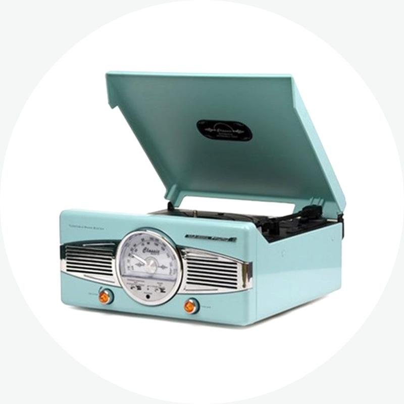 턴테이블 클래식 라디오 스카이블루