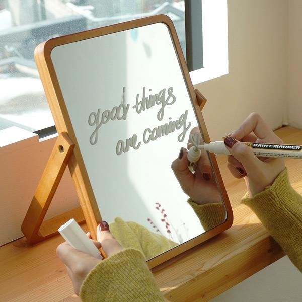 레터링 우드 원목 & 화이트 탁상 거울 3type 원하는 문구가능 거울