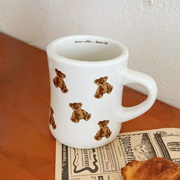 곰돌이 테디 베어 레터링 뭉뚝 머그 컵